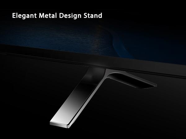 Toshiba 4K Smarter TV with elegant metal design stand